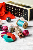 Accessories seamstress and needlework items Royalty Free Stock Photography