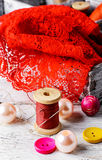 Accessories seamstress and needlework items Royalty Free Stock Image