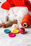 Accessories seamstress and needlework items Stock Images