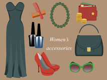 Accessories. A set of women's accessories in retro style: evening dress, comb hair, nail Polish, necklace, purse, handbag, shoes, sunglasses vector illustration
