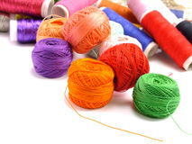 Accessories sewing background with color threads Stock Images