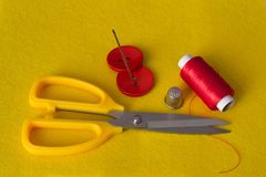 Accessories for sewing business, needlework and hobbies. royalty free stock image