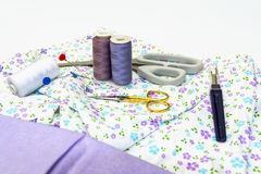 Accessories for Sewing. A display of Sewing Accessories with fabric Stock Photography
