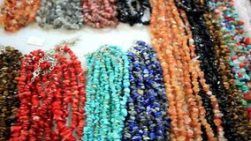Accessories shop with beads, bracelet. HD. stock footage
