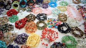Accessories shop with beads, bracelet. HD. stock video footage