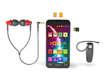 Accessories for smartphone 3d illustration. Royalty Free Stock Image