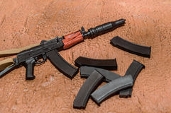 Accessories for soldiers selective focus guns toy Royalty Free Stock Image