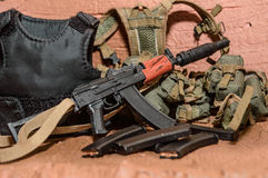 Accessories for soldiers selective focus guns toy Stock Photo