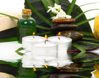 Accessories for spa with flowers of jasmine Stock Photos