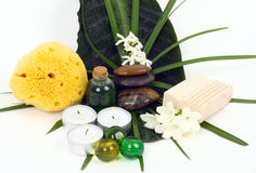 Accessories for spa with flowers of jasmine Stock Photo