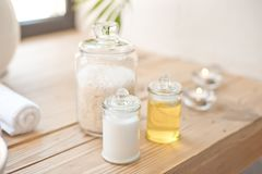 Accessories for spa oils, sea stones and salt stock image