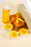 Accessories for spa therapy. Spa treatments, such as soaps, towels and other Stock Photography