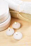 Accessories for spa therapy. Candles and accessories for the spa therapy Royalty Free Stock Photo