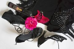 Accessories for sports ballroom dancing stock images