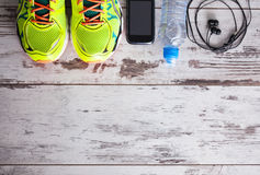 Accessories for sports. Lying on the floor in a fitness club Royalty Free Stock Image