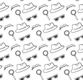Accessories spy hat, glasses, magnifier, mustache seamless pattern. Stock Photography