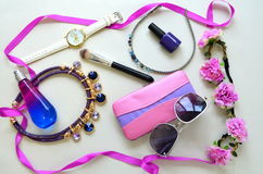 Accessories - sunglasses, wrist watches Royalty Free Stock Photo