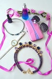 Accessories - sunglasses, wrist watches. Rims Royalty Free Stock Photo