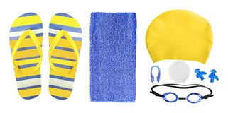 Accessories for swimming pool isolated on white. Top view of equipment and accessories for swimming pool isolated on white background. Swim cap, ear plugs royalty free stock image