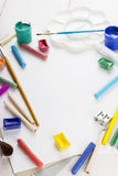 Accessories to drawing: paper, paints, brushes, pencils. Accessories to drawing. Top view Royalty Free Stock Images
