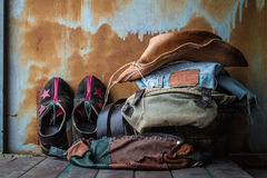 Accessories to dress up in old wooden basket. Stock Images