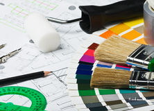 Accessories and tools for home renovation Stock Photos