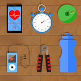 Accessories for training. Apple and player with headphones, phone and heart rate monitor, stopwatch and water bottle, vector illustration vector illustration