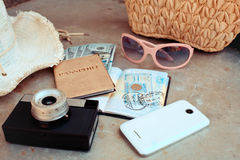 Accessories on the travel Royalty Free Stock Images