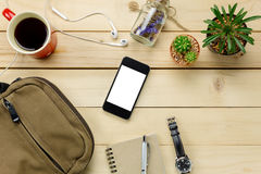Accessories  travel with mobilephone,sunglasses,bag,wat. Top view accessories  travel with mobilephone,sunglasses,bag,watch,notepaper,earphones,pen,cactus,coffee Stock Image