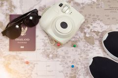 Accessories for Travel, Sunglasses, shoes, passport and camera C stock photography