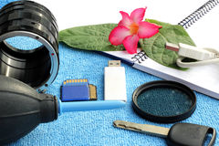Accessories for traveler and photographer Stock Photography