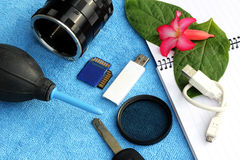 Accessories for traveler and photographer Royalty Free Stock Image