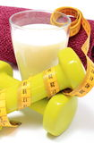Accessories for using in fitness and measure tape with glass of milk Stock Image