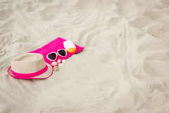 Accessories for vacation on sand at beach, sun protection, summer time Royalty Free Stock Photography