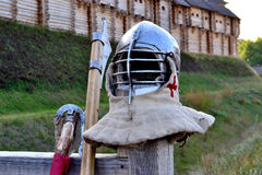 Accessories warrior. International Championship on the historical medieval battle Call of heroes. It passes near Kiev, in the village of Kopachev, Ukraine, 19-20 Stock Photo