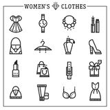 Accessories women icons vector line Royalty Free Stock Photos