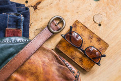 Accessories on the wooden Royalty Free Stock Photos