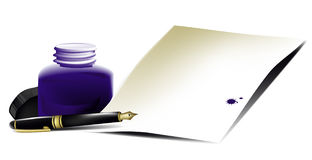Accessories of writer stock illustration