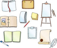 Accessories for writing. Writing-book with white pages, light brown cork board, writing-pad, sketch-book with paper and photos, notebook, manuscript with red Royalty Free Stock Images