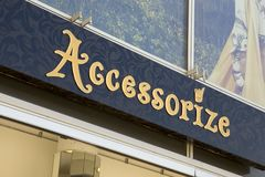 Accessorize store sign. DRESDEN, GERMANY - JUNE 10, 2017: Accessorize store sign, is a British private limited company. It has a London registered address, and Stock Images