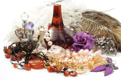 Accessory. Jewelry , accessory and perfumes on white background Royalty Free Stock Images