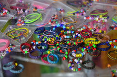 Accessory beads and tools for made ornament Stock Photos
