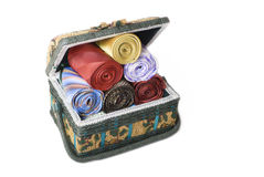 Accessory box full of ties Royalty Free Stock Images