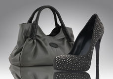 Accessory concept. Woman bag with shoe, accessory concept Stock Image