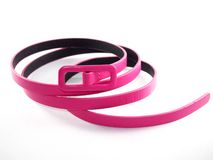 Accessory for dress up lady, pink leather belt Stock Images