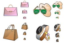 Accessory icons in a different size Royalty Free Stock Photos