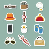 Accessory icons set Royalty Free Stock Photos