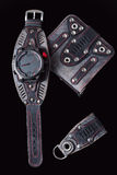 Accessory kit. biker watch, wallet and key ring. On black background Stock Images