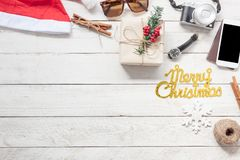 Accessory men & women to travel Christmas and Happy new year concept Royalty Free Stock Photo