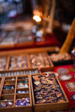 Accessory selling. At a market in evening Stock Photography